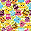 Stock Photo: Seamless and Tileable Vector Owl Background Pattern