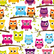 Seamless and Tileable Vector Owl Background Pattern — Stock Photo #40229181
