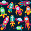 Vector Collection of Cartoon Rocketships — Stock Photo