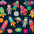 Vector Collection of Cartoon Rocketships, Alients, Robots, Astronauts and Planets — Stock Photo