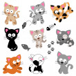 Vector Collection of Cute Cartoon Cats — Stock Photo