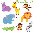 Cute Vector Set of Zoo Animals — Stock Photo