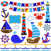 Vector Collection of Nautical and Sailing Themed Elements — Stock Photo