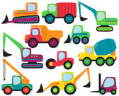 Vector Set of cute Construction Vehicles and Heavy Equipment — Stock Photo