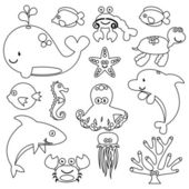 Vector Set of Cute Sea Creature Line Art — Stock Vector