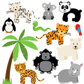 Vector Collection of Cute Zoo, Jungle or Wild Animals — Stock Photo