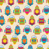 Seamless Tileable Vector Background Pattern with Cute Robots — Stock Photo