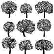 Vector Collection of Tree Silhouettes — Vector de stock