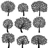 Vector Collection of Tree Silhouettes — Stock Vector