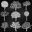 Vector Collection of Chalkboard Style Tree Silhouettes — ストックベクタ