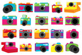 Vector Collection of Cute Retro or Vintage Cameras — Stock Vector