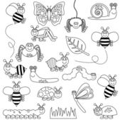 Large Vector Set of Cute Cartoon Bug Line Art — Stock Vector