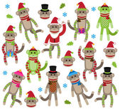 Vector Collection of Cute Christmas and Winter Themed Sock Monkeys — Stock Vector