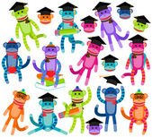 Vector Collection of Brightly Colored School and Graduation Themed Sock Monkeys — Stock Vector