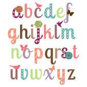 Conjunto de vectores alfabeto femenino — Vector de stock