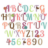 Girly Alphabet Vector Set — Stock Vector