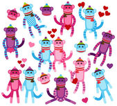 Vector Collection of Valentine's Day Themed Sock Monkeys — Stock Vector