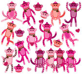Collection of Girly Themed Sock Monkey Vectors — Stock Vector