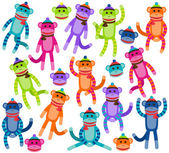 Vector Collection of Cute and Colorful Sock Monkeys — Stock Vector