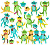Collection of Gender Neutral Sock Monkey Vectors — Stock Vector
