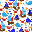 Seamless Tileable Nautical Themed Vector Background or Wallpaper — Stok Vektör