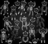 Vector Collection of Cute Doodle Chalkboard Sock Monkeys — Stock Vector