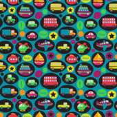 Transportation Themed Seamless Tileable Background Pattern — Stock Vector