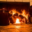 Chimney pots on the fire — Stock Photo
