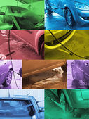 Photomontage Hand Car Wash — Stock Photo