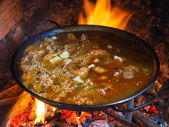 Cooking a paella — Stock Photo