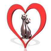 Gatos de pareja en corazón rojo — Foto de Stock
