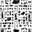 Antique Furniture And Objects Hundred Vector  — Imagen vectorial
