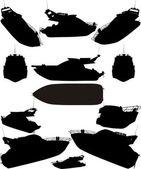 Vector de siluetas de barco yate — Vector de stock