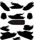 Yacht Boat Silhouettes Vector — Vetorial Stock