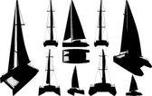 Catamaran Boat Silhouettes Vector — Vetorial Stock