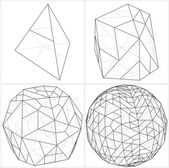 From Tetrahedron To The Ball Sphere Lines Vector — Stockvektor
