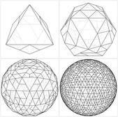 Från octahedron till bollen området rader vektorn — Stockvektor