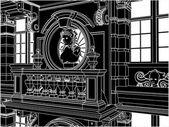 Eclectic Facade Front View Vector — Stock Vector