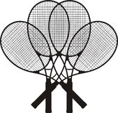 Four Tennis Racket Silhouettes Vector — Stock Vector