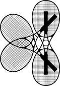 Quattro sagome di racchetta da tennis vettoriale — Vettoriale Stock