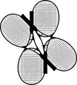 Four Tennis Racket Silhouettes Vector — Stock Vector