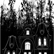 Haunted House Bats Halloween Background Vector — Stock Vector