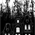 Haunted House Bats Halloween Background Vector — Stock Vector #23191510