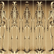 Stock Photo: Five Gold Alien Skeleton
