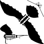Flying Machine Leonardo Hang Glider Vector — Stock Vector