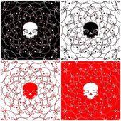 Skull Black Red White Pattern Vector — Stock Vector