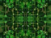 Abstract Green Spherical Glass Circuit Background — Stockfoto