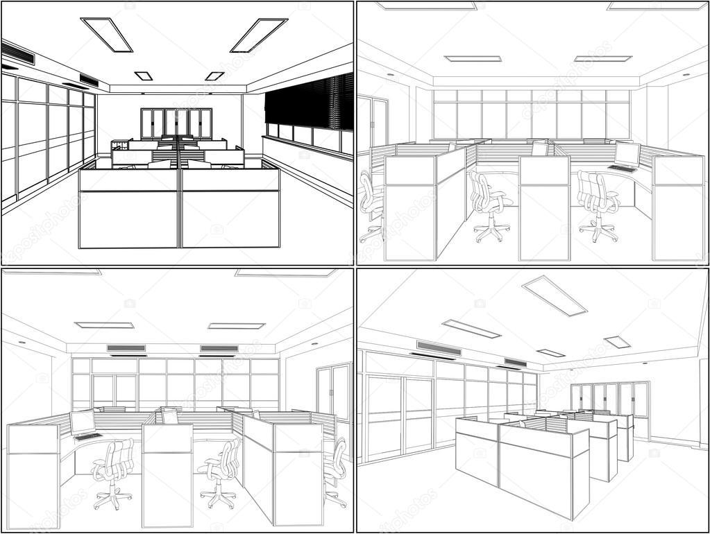 Interior Office Room Vector Stock Vector NesaCera