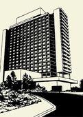 Hotel Building Vector — Stock Vector