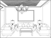 Wohnzimmer-Vektor — Stockvektor